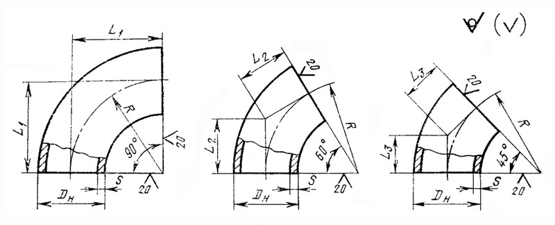 Отводы стальные крутоизогнутые ГОСТ 17375